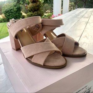 JustFab Blush Suede Block Heel Sandals Size 7